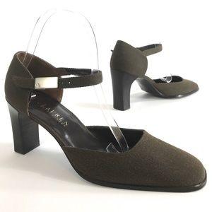 Lauren Ralph Lauren Ankle Strap Heels Brown sz 9